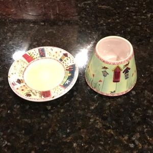 Yankee candle jar candle cover and dish